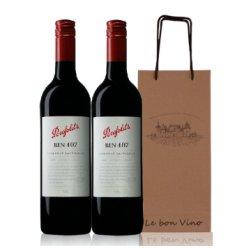 奔富407红酒 澳洲原装进口 奔富BIN407 红葡萄酒 双礼袋750ml*2