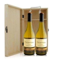 红酒客 智利 远山夏多内白葡萄酒双支松木礼盒装