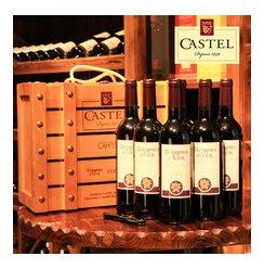 CASTEL卡思黛乐图雅斯葡萄酒 6支木箱装法国卡斯特兄弟红酒送礼
