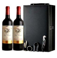 包邮假一赔十 法国原瓶进口木桐夏嘉城堡干红葡萄酒双支礼盒红酒  葡萄酒双支皮盒 送礼佳品