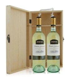 红酒客 意大利 卓林灰比诺白葡萄酒双支松木礼盒装