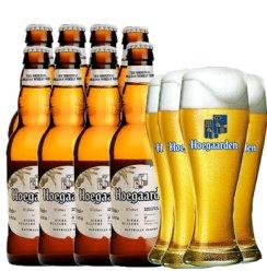 福佳白Hoegaarden  小麦啤酒 福嘉小麦啤酒 比利时风味啤酒  精酿啤酒 福佳白8瓶+4个束腰杯