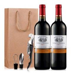 法国原酒进口红酒 图利斯酒庄干红葡萄酒双支礼袋750ml*2