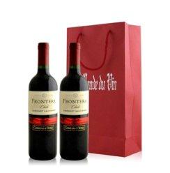 红酒客 智利干露酒厂远山卡本妮苏维翁红葡萄酒双支礼袋装