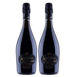 意大利进口红酒金9朗布鲁斯科低醇起泡酒婚庆女士甜葡萄酒气泡果酒 双支