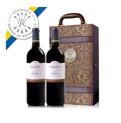 【拉菲官方专卖店】法国拉菲红酒传说梅多克双支复古雕花皮箱