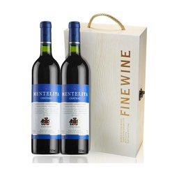 优上红酒送双支木盒 法国原酒进口 蒙特利娅干红葡萄酒 送礼盒