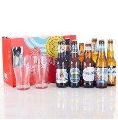 【啤酒礼盒】多国精酿啤酒组合 8支混合装 比利时/荷兰 多种啤酒一次尝 8支礼盒装+2支啤酒杯
