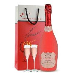 【配2个香槟杯+礼袋】 香醇奥斯曼 起泡酒 女士喜爱红酒 气泡酒葡萄酒 750ml 草莓味