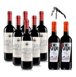 法国进口红酒 查特娜塔莉波尔多干红葡萄酒750ml*6整箱