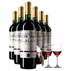 法国原瓶原装进口红酒整箱6支装波尔多AOC干红葡萄酒正品送酒具