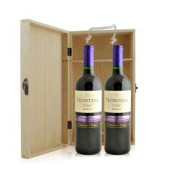 智利 远山梅洛红葡萄酒双支松木礼盒装