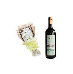 意大利原装进口红酒:卡米尔伯爵 托斯卡纳干白750ml +卡通花一束:11支kt猫精美包装