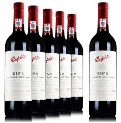 澳大利亚奔富9干红葡萄酒 bin9 澳洲原装原瓶进口赤霞珠红酒2014 整箱六支装