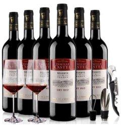 【优红酒】法国原瓶进口红酒 CASTEL家族牌干红葡萄酒整箱6x750ml