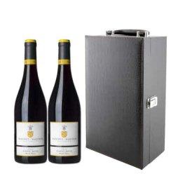 法国原瓶进口红酒 都诺 勃艮第葡萄酒 750ml 黑品乐双支仿鳄鱼皮礼盒