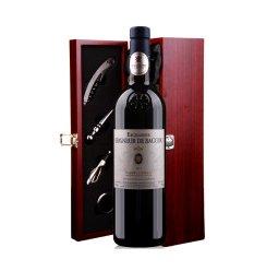 法国原瓶进口博库公爵红里昂银奖品质葡萄酒仿红木单支礼盒装(带酒具)750ml