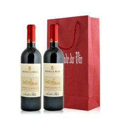 红酒客 智利 桑塔丽塔真实勋章加本力苏维翁红葡萄酒双支礼袋装