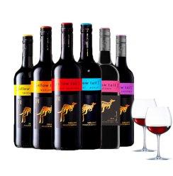 进口红酒 澳洲原装进口黄尾袋鼠梅洛西拉加本力红葡萄酒750ml*6支