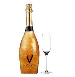 西班牙进口葡萄酒 阿芘芭起泡酒气泡酒魔幻云火焰星空银河配极光配置闪闪酒甜果酒送香槟杯 金色750ml