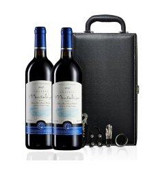 法国原装原瓶进口红酒 AOC/AOP法定产区 男爵干红葡萄酒 礼盒装 送礼 双支皮盒 包邮