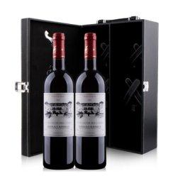 法国原瓶进口超级波尔多 圣法德斯庄园干红葡萄酒双支皮质礼盒装(带酒具)750ml*2