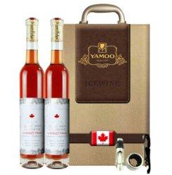 加拿大冰酒庄园进口史东妮晚收品丽珠冰红甜葡萄酒 双支白皮红酒礼盒装 375ml*2
