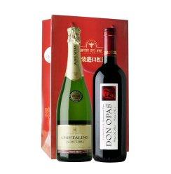 西班牙原装原瓶进口 水晶金钻(金标)半干型起泡酒+唐•奥巴斯干红+双支装礼袋750ml*2