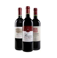 拉菲红酒 珍藏波尔多奥希耶西慕巴斯克特级藏酿干红葡萄酒750ml*3三组合ASC行货