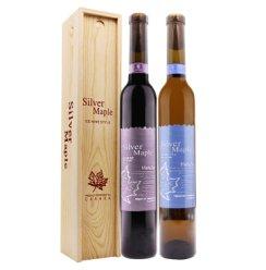 原酒产地 加拿大 甜酒组合 银枫甜白银枫甜红 葡萄酒组合装 木盒装