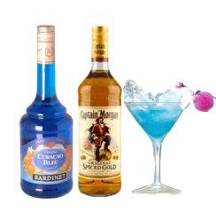 鸡尾酒蓝色夏威夷套餐必得利蓝香橙力娇酒 700ml+摩根船长原创金牌调味朗姆酒 700ml