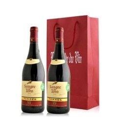 红酒客 西班牙桃乐丝公牛血干红葡萄酒双支礼袋装