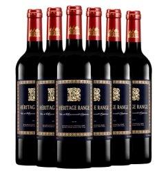 【超市红酒】【送欧式酒架+酒具】法国原瓶进口红酒赫里蒂岭干红葡萄酒750ml整箱6支套装