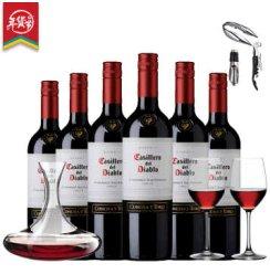 【酒要特卖】也买酒 智利原瓶原装进口红酒干露红魔鬼赤霞珠 干红葡萄酒 750mlx6 整箱装