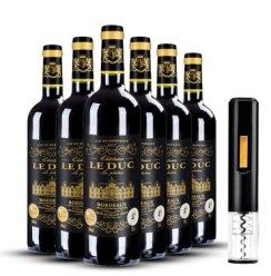【双奖认证】法国进口红酒公爵庄园干红葡萄酒波尔多AOC原瓶 泰和酩庄 6支整箱750ml*6(礼袋)