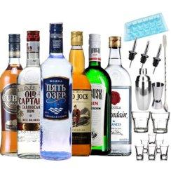 洋酒套装 六大基酒DIY鸡尾酒套餐 欧联达因龙舌兰/伏特加/威士忌/白兰地/金酒/朗姆组合