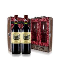 法国原瓶进口红酒 法国拉斐尔2007城堡干红 法定产区AOC / AOP 双支皮盒礼品套装