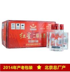 红星二锅头白酒 2014产老版红箱50度苏扁 150ML*24瓶