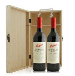 红酒客  奔富酒园蔻兰山设拉子加本力干红葡萄酒双支松木礼盒装
