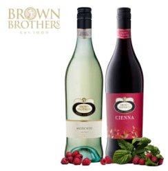 澳洲原瓶 进口红酒 布朗/布琅兄弟莫斯卡托甜白 森娜甜红葡萄酒 750ml*2