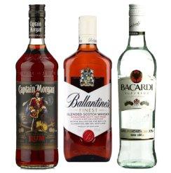 英国百龄坛特醇\摩根船长黑朗姆酒\百加得超级朗姆酒 3支装洋酒组合
