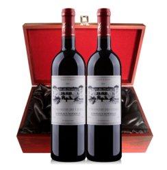 法国原瓶进口超级波尔多 圣法德斯庄园干红葡萄酒双支仿红木礼盒装750ml*2