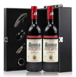 法国红酒 原瓶进口 路易拉菲珍品波尔多干红葡萄酒750ml*2 礼盒装
