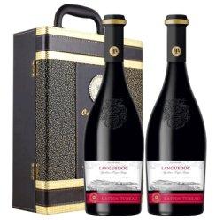 格拉洛(GLALO) 法国原瓶进口红酒 格拉洛戛斯图欧朗格多克AOP级干红葡萄酒 双支礼盒装 750ml*2瓶