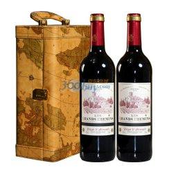 法国原瓶进口 浩瀚之路 佳利酿/歌海娜/美乐干红葡萄酒双支高级地图礼盒(750ml*2)