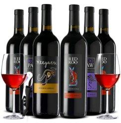 【每满199减10】赠酒杯 袋鼠红酒整箱 澳洲澳大利亚原瓶原装进口 袋鼠干红葡萄酒系列750ml*6 3种混装6支整箱