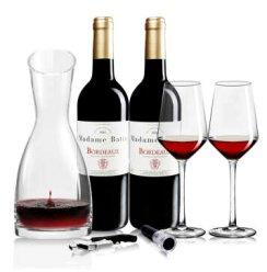 法国原瓶进口AOC级红酒 巴图太太波尔多干红葡萄酒750ml*2 醒酒器套装