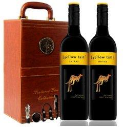 澳洲原装进口 Yellow Tail 黄尾袋鼠西拉干红葡萄酒双棕礼盒套装