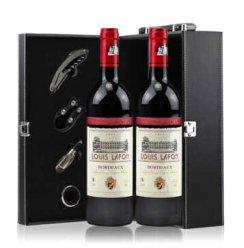 法国红酒 原瓶进口路易拉菲珍品波尔多干红葡萄酒 双支礼盒750ml*2瓶