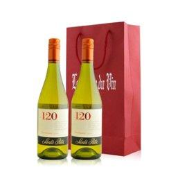 红酒客 智利 桑塔丽塔120莎当妮白葡萄酒双支礼袋装